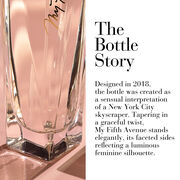Designed in 2018, the bottle was created as a sensual interpretation of a NYC skyscraper. Tapering in a graceful twist, My Fifth Avenue stands elegantly, its faceted sides reflecting a luminous feminine silhouette.